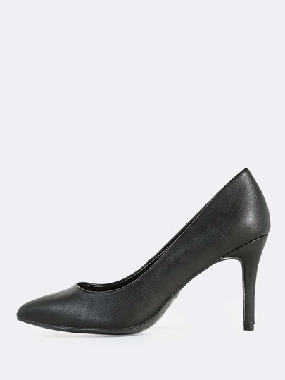 Point Toe Patent Heels BLACK