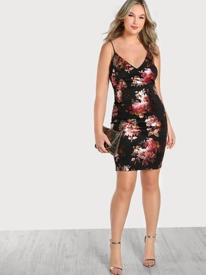 Metallic Floral Print Bodycon Dress BLACK