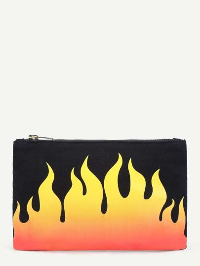 Flame Print Clutch Bag
