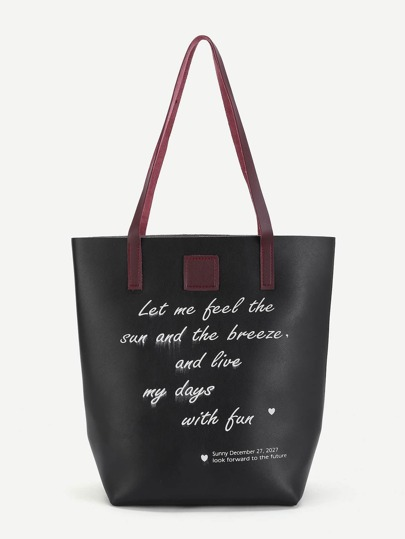 Letter Print PU Tote Bag With Purse
