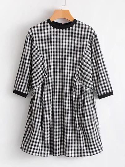 Zipper Back Gingham Babydoll Dress