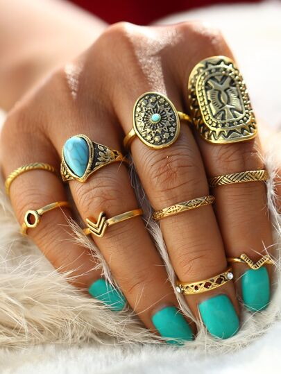 Multi Shaped Ring Set With Turquoise