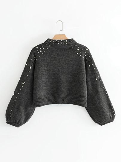 Crop Pullover mit Bishopärmeln und Perlen