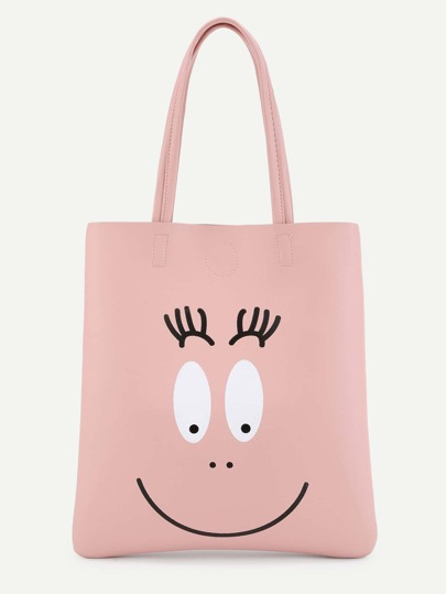 Cartoon Print Minimalist Tote Bag
