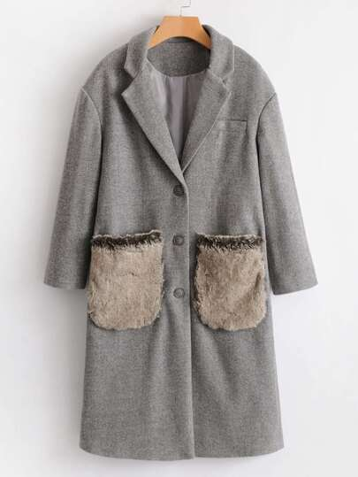 Faux Fur Embellished Pocket Wool Blend Coat