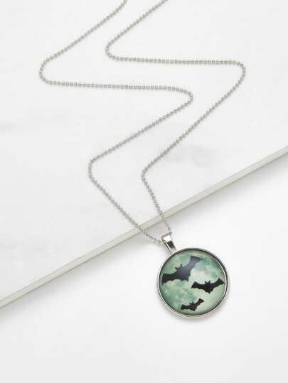 Collier de chaîne avec pendentif de chauve-souris lumineux en verre