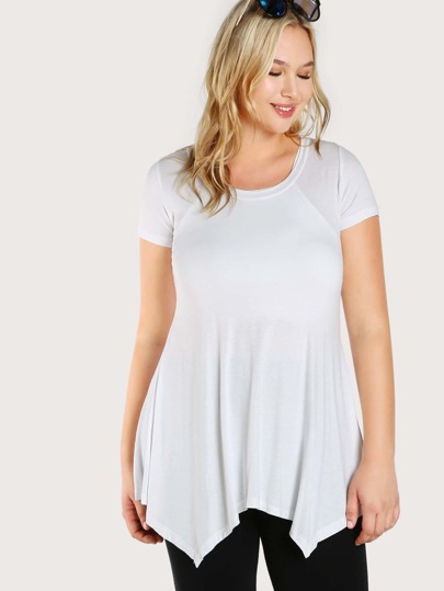 Solid Cap Sleeve Tunic Dress WHITE