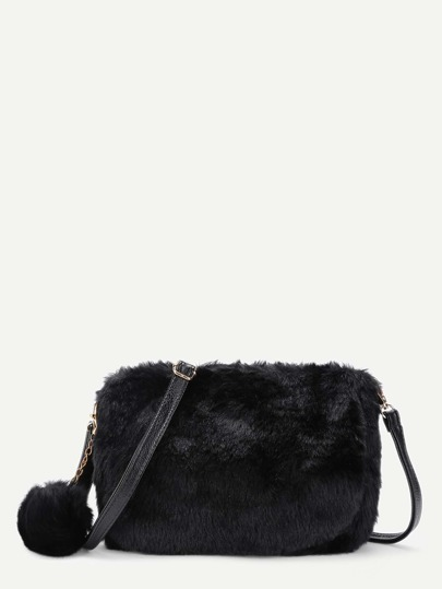 Faux Fur Overlay Shoulder Bag With Pom Pom