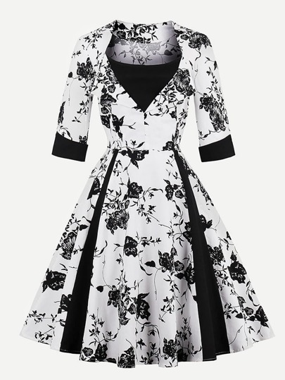 Contrast Panel Foldover Florals Circle Dress