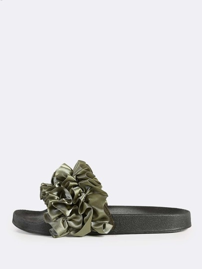 Satin Ruffle Accent Band Slides OLIVE