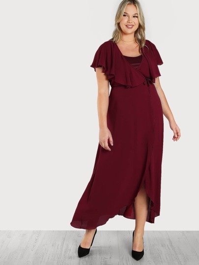 Flowy Self Tie Wrap Dress BURGUNDY