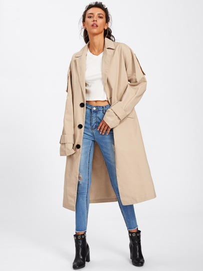Trench Coat With Letter Embroidered Belt