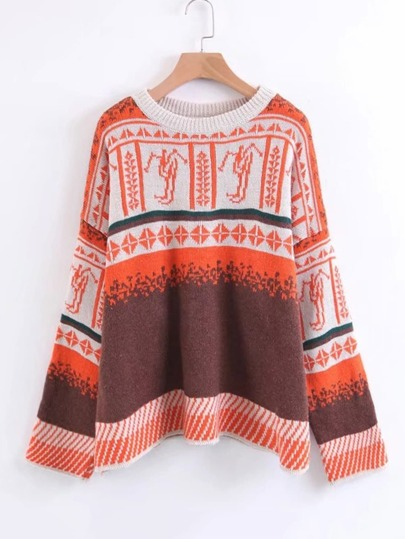 Graphic Pattern Drop Shoulder Sweater