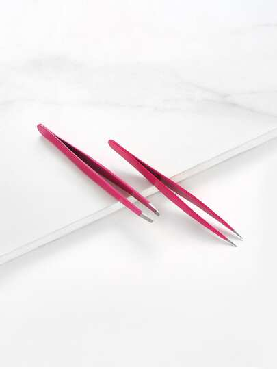 Slant & Tip Eyebrow Tweezers Set 2pcs