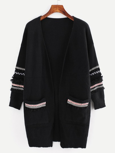 Chevron Patch Pompom And Fringe Detail Cardigan