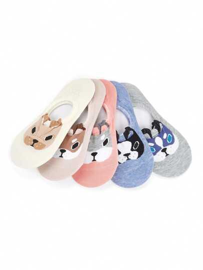 5 pares de calcetines invisibles con estampado de perro