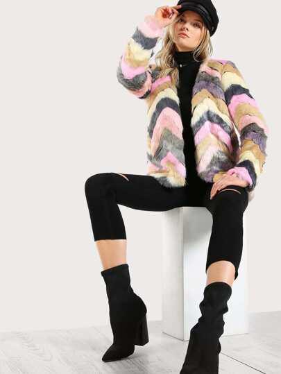 Faux Fur Multi Color Coat PINK
