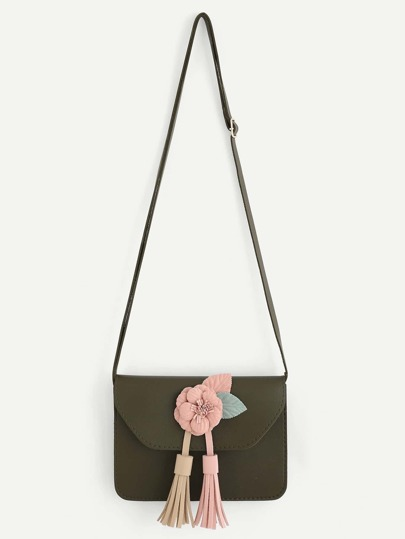 Tassel & Flower Detail Crossbody Bag