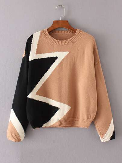 Graphic Pattern Drop Shoulder Sweater