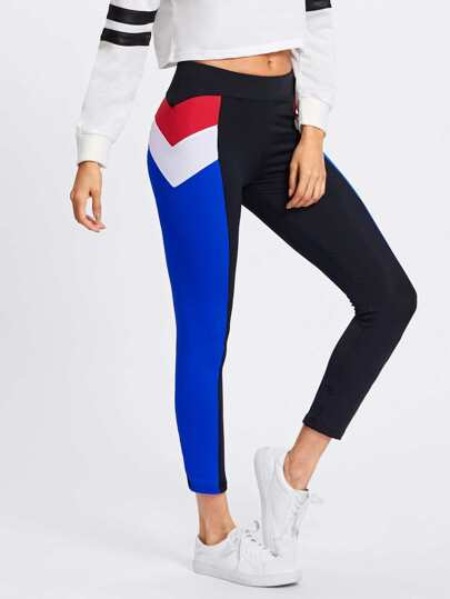 Cut And Sew Chevron Side Leggings