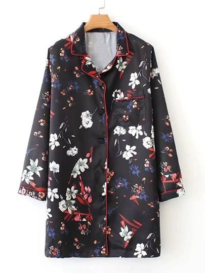 Contrast Trim Floral Pyjama Shirt Dress