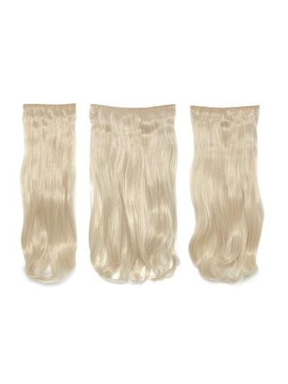 3 piezas de extensión para el pelo ondulado rubio claro