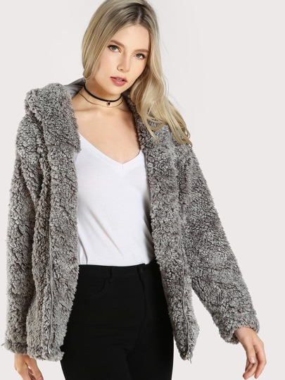 Soft Wool Hoodie Coat GREY