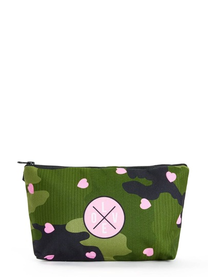 Heart Print Zipper Pouch