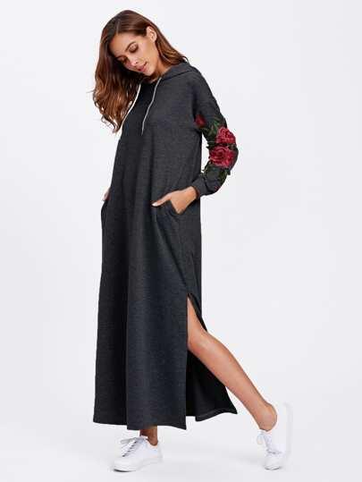 Split Side Applique Hooded Dress