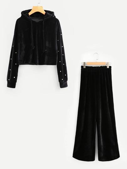 Pearl Beaded Velvet Hoodie With Pants