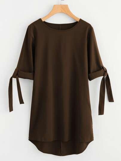 Robe Shirt avec pan asymétrique avec ourlet de manche