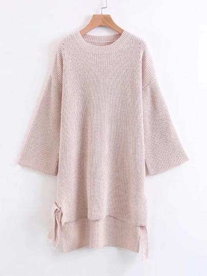 Drop Shoulder Tie Detail High Low Sweater