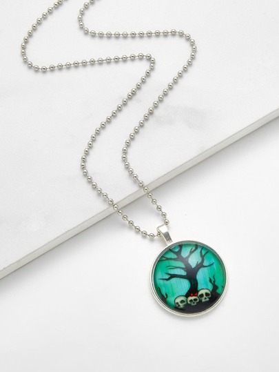 Skeleton & Tree Pendant Chain Necklace