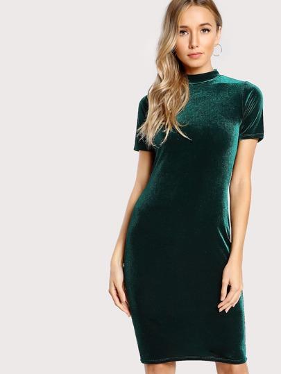 Short Sleeve Mockneck Velvet Dress GREEN