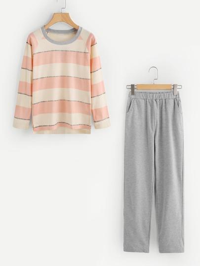 Block Stripe Pajama Set