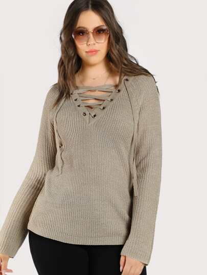 Lace Up Knitted Sweater OATMEAL
