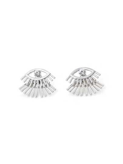 Eyelashes Stud Earrings With Rhinestone