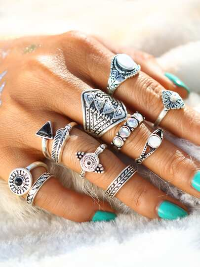 Geometric Design Ring Set 10pcs