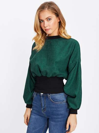 Contrast Ribbed Trim Balloon Sleeve Pullover