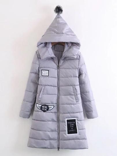 Pom Pom Hooded Longline Padded Coat