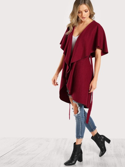 Oversized Collar Curved Cape Coat