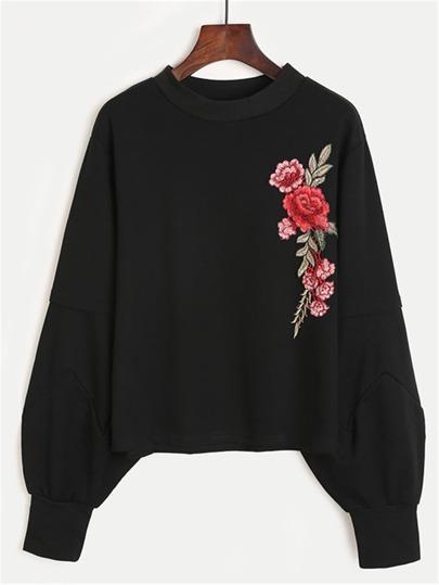 Embroidered Rose Applique Sweatshirt