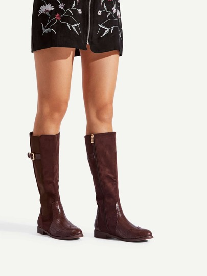 Buckle Detail Side Zipper Mid Calf Boots