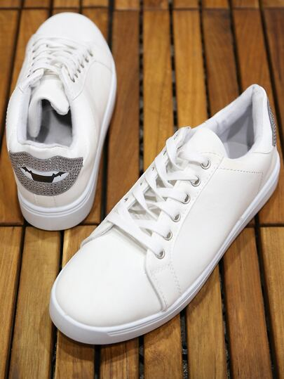 Low Top Lace Up Sneakers WHITE
