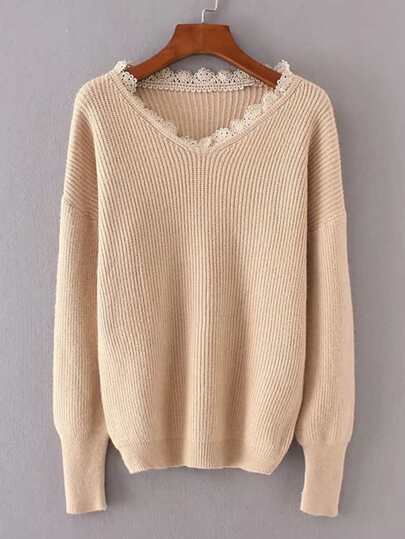 Lace Insert Ribbed Knit Sweater