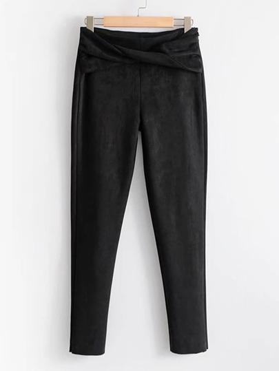 Twist Front Suede Pants