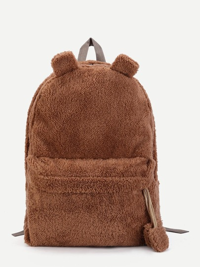 Ear Detail Faux Fur Overlay Backpack