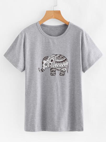 T-shirt imprimé éléphant