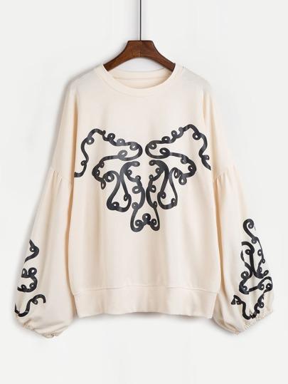 Lantern Sleeve Graphic Print Sweatshirt