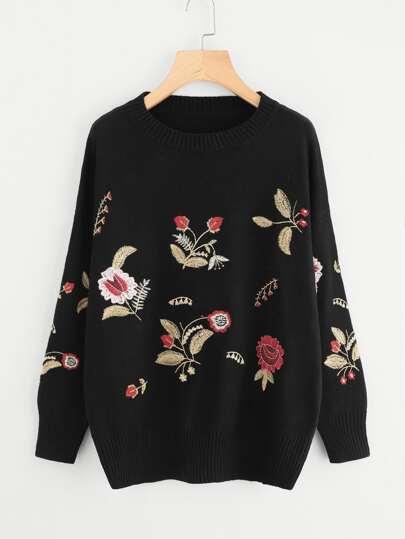 Botanical Embroidered Jumper